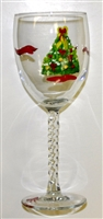 Christmas Tree White Wine Glass