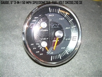 "GAUGE 5"" 3-IN-1 50 MPH SPEEDOMETER  FUEL-VOLT"