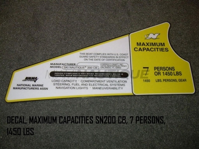 DECAL MAXIMUM CAPACITIES SN200 CB 7 PERSONS 1450 LBS