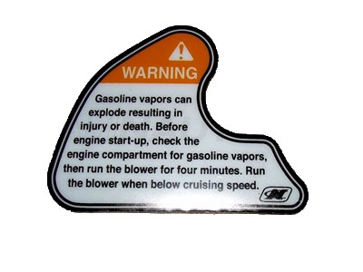 "DECAL TEAM WARNING GAS VAPORS 2 2.59"" X 3.36"""