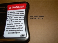 DECAL DANGER SPINNING PROPELLOR 3.09 X 2.34