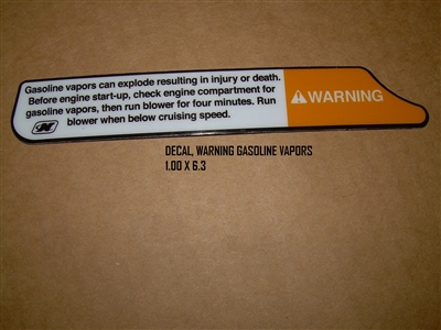 DECAL WARNING GASOLINE VAPORS 1.00 X 6.3