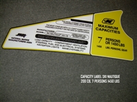 CAPACITY LABEL SKI NAUTIQUE 200 CB 7 PERSONS 1450 LBS