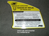 CAPACITY LABEL SUPER AIR NAUTIQUE 210 12 PERSONS 1850 LBS