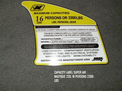 CAPACITY LABEL SUPER AIR NAUTIQUE 230 16 PERSONS 2300 LBS