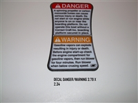 DECAL DANGER/WARNING 3.79 X 2.34 120108