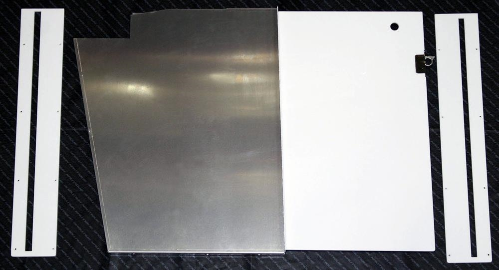 POCKET DOOR, WHITE ICING ACRYLIC, STAINLESS STEEL FRAME