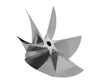 CNC Cleaver pro finished 6 blade sterndrive propeller