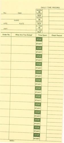 800652 Time Card: Job Card