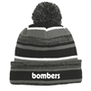 Grey, black and white beanie with bombers logo in retro