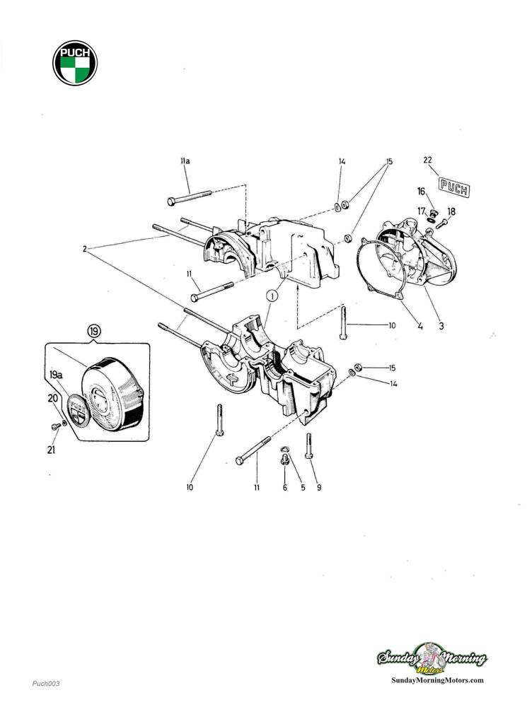 Puch Moped Engine Mount Bolts | Puch Engine Diagram |  | Vintage Moped Parts