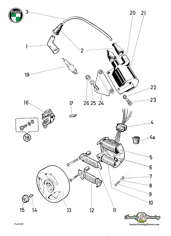 Puch Moped E50 6 Wire Magneto Assembly-Complete | Puch Engine Diagram |  | Vintage Moped Parts