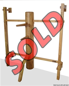 WING CHUN WOODEN DUMMY: MasterPath Platinum Series #011 - Wall Stand (Solid Black Locust)