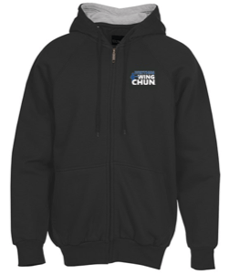Thermal-Lined Full-Zip Sweatshirt Hoodie - Embroidered Blue Logo