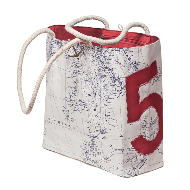 Great Lakes Chart Bag with red sail number