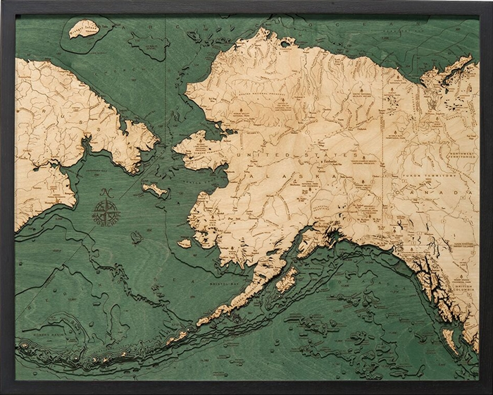 3D Alaska Nautical Real Wood Map Depth Decorative Chart