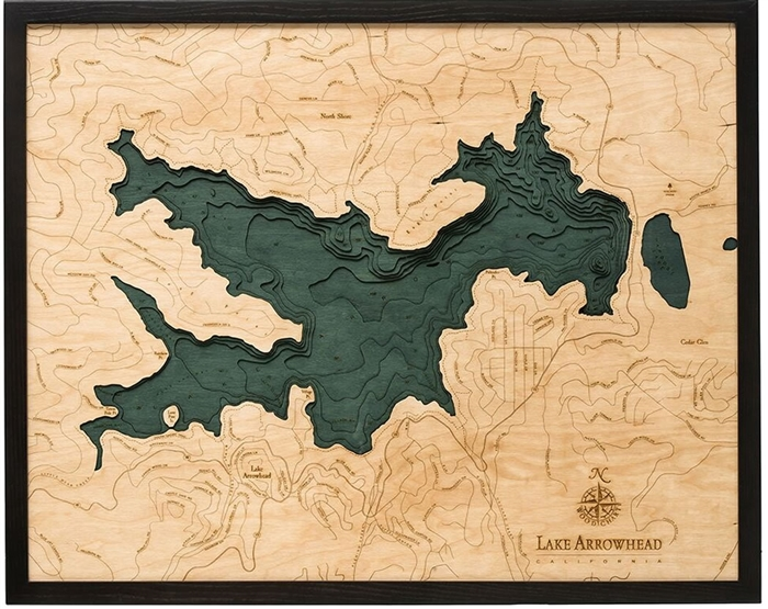 3D Lake Arrowhead Nautical Real Wood Map Depth Decorative Chart