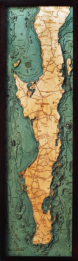 Baja Peninsula Nautical Topographic Art: Bathymetric Real Wood Decorative Chart