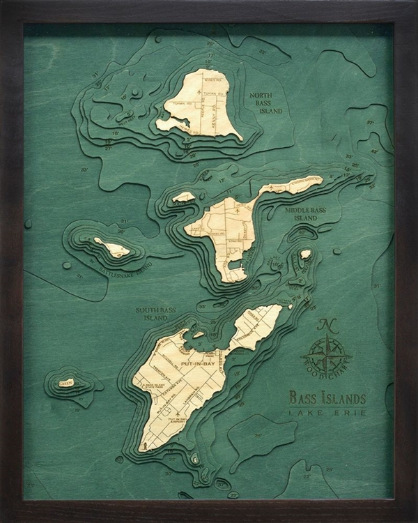 Bass Islands Nautical Topographic Art: Bathymetric Real Wood Decorative Chart