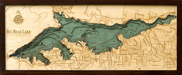 Big Bear Lake Nautical Topographic Art: Bathymetric Real Wood Decorative Chart