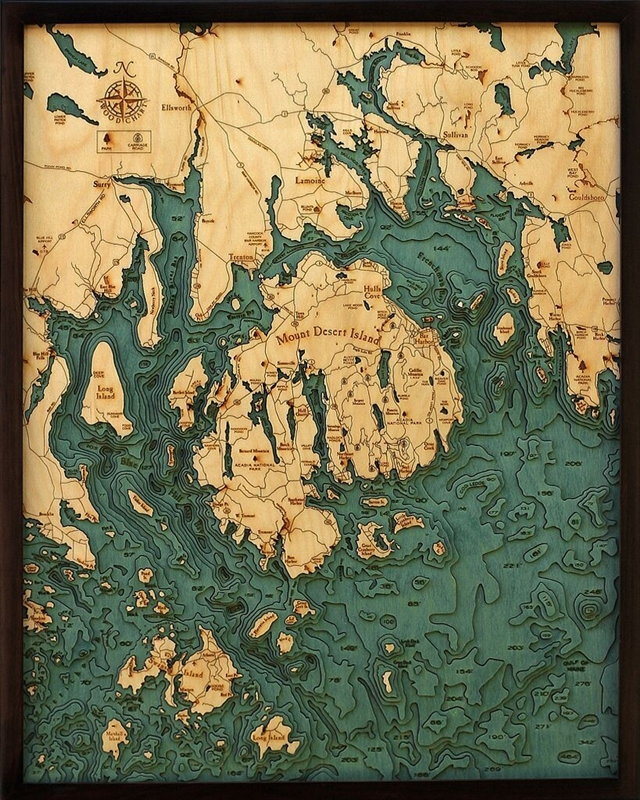 Bar Harbor Nautical Topographic Art: Bathymetric Real Wood Decorative Chart