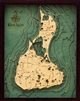 Custom Wood Charts of Block Island from Carved Lake Art: Nautical Gifts & Depth Charts