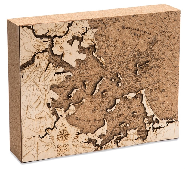 Boston Harbor Cork Map Nautical Topographic Art