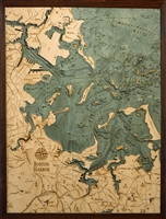 3D Boston Harbor Nautical Real Wood Map Depth Decorative Chart