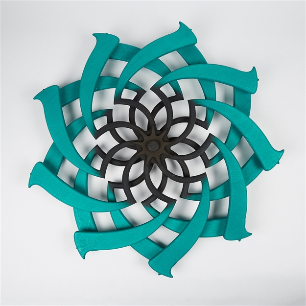 Lotus Kinetic Sculpture Malachite & Chocolate