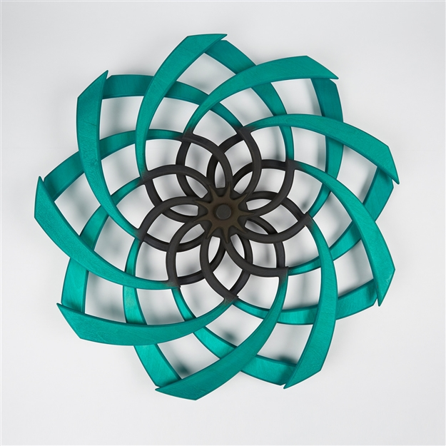 Sunflower Kinetic Sculpture Malachite & Chocolate
