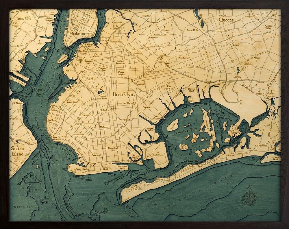 Map Of New York 3d.Brooklyn New York 3 D Nautical Wood Chart 24 5 X 31