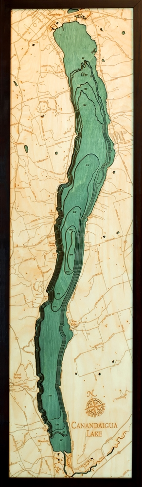 Canandaigua Lake Nautical Topographic Art: Bathymetric Real Wood Decorative Chart
