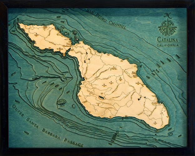 Catalina Island Nautical Topographic Art: Bathymetric Real Wood Decorative Chart