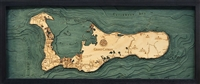 3D Grand Cayman Island Nautical Real Wood Map Depth Decorative Chart