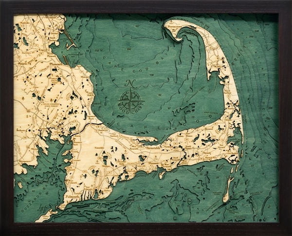 Cape Cod Nautical Topographic Art: Bathymetric Real Wood Decorative Chart