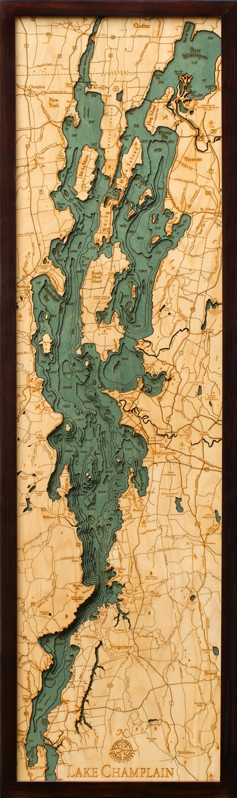 Custom Wood Charts of Lake Champlain from Carved Lake Art ... on
