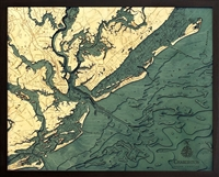 Charleston Nautical Topographic Art: Bathymetric Real Wood Decorative Chart
