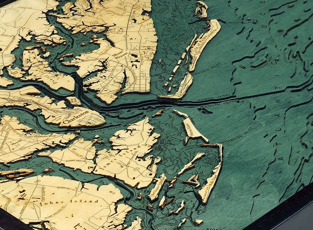 Wooden Relief Map of Charleston, SC Coast   Carved Lake Art on