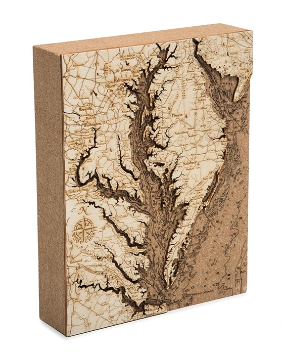 Chesapeake Bay Cork Map Nautical Topographic Art