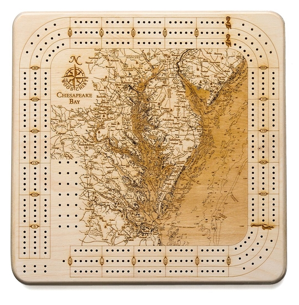 Chesapeake Bay Real Wood Decorative Cribbage Board