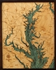 3D Chesapeake Bay Nautical Real Wood Map Depth Decorative Chart