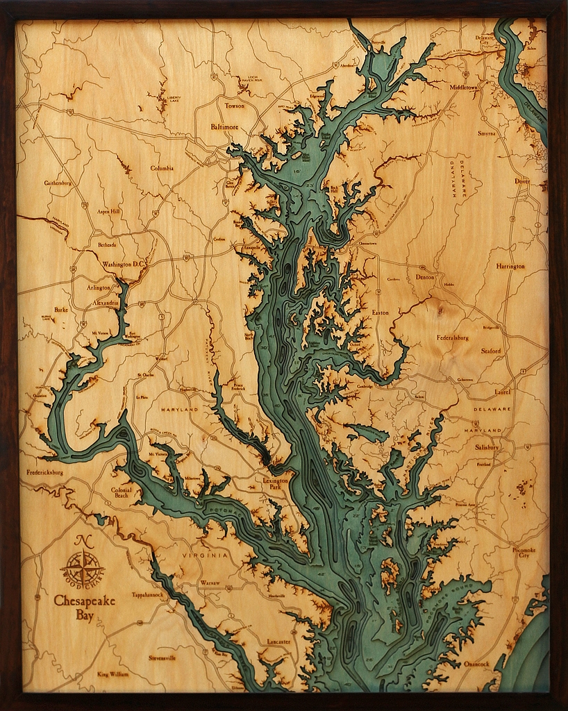 Chesapeake bay nautical map art laser cut wood map art