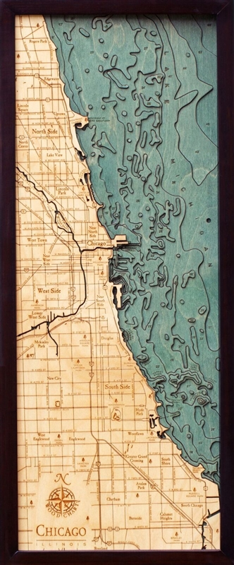 3D Chicago Nautical Real Wood Map Depth Decorative Chart