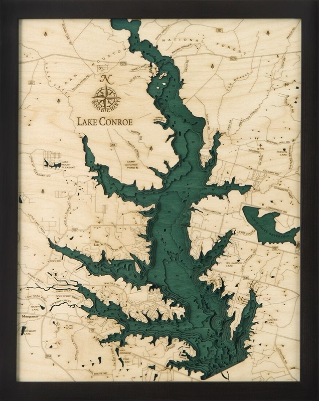 Lake Conroe Nautical Topographic Art: Bathymetric Real Wood Decorative Chart
