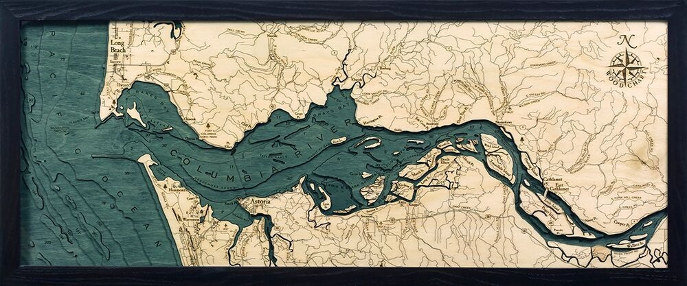 Custom Wood Charts of the Columbia River Mouth from Carved Lake Art