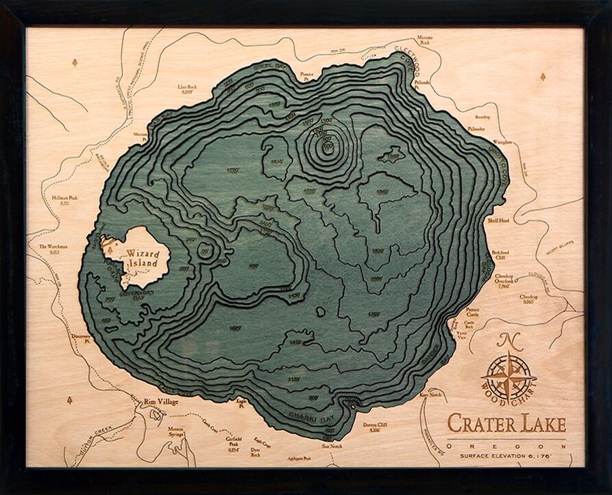 Crater Lake Topographic Map.Crater Lake Depth Map 3d Laser Cut Lake Topography Art