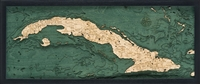 Cuba Nautical Topographic Art: Bathymetric Real Wood Decorative Chart