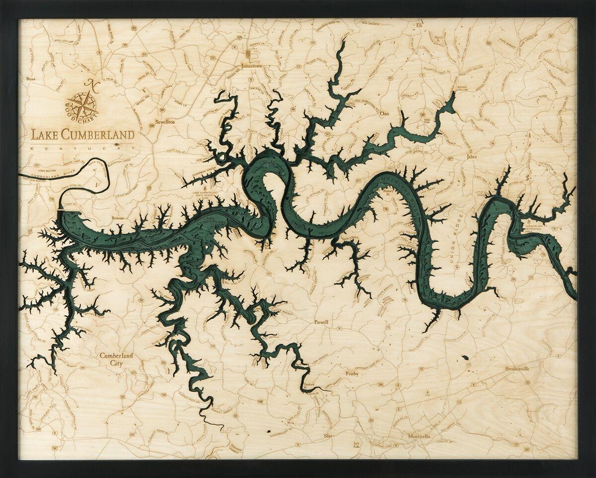 Lake Cumberland 3-D Nautical Wood Chart 24.5 x 31