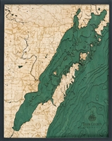 Door County Nautical Topographic Art: Bathymetric Real Wood Decorative Chart