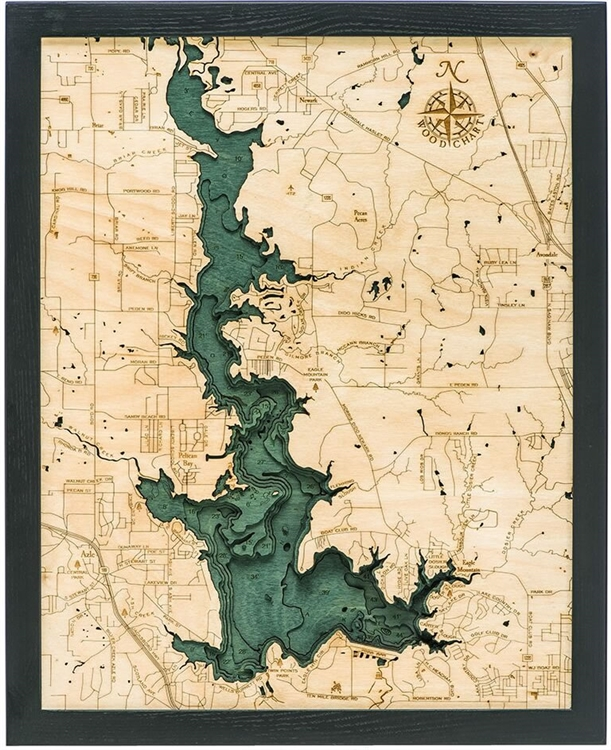 3D Eagle Mountain Lake Nautical Real Wood Map Depth Decorative Chart